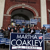 Martha Coakley supports pose with signs outside the IUE building on Broad St in Lynn Sunday January 17, 2010. Item Photo/ Reba M. Saldanha