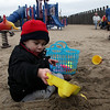 Nicholas Ber, 2, plays in the sand at Lynn Beach Sunday January 17, 2010. Item Photo/ Reba M. Saldanha