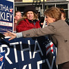 Martha Coakley greets supporters in the parking lot of Brother's Deli on Market Street in Lynn on Saturday.