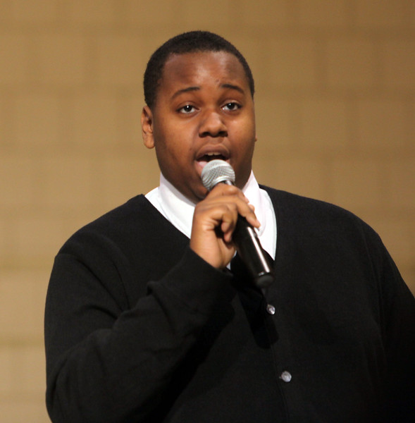 Bishop Fenwick student Alex Newell sings during the 24th annual Reverend Dr. Martin Luther King, JR holiday observance at North Shore Community College Monday January 18, 2010. Item Photo/ Reba M. Saldanha