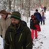 Hikers head up to Breakheart Hill on Friday as part of the New Years Day hike.