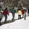 Peter Luongo of the DCR leads a group of hikers at Breakheart Reservation on Friday.