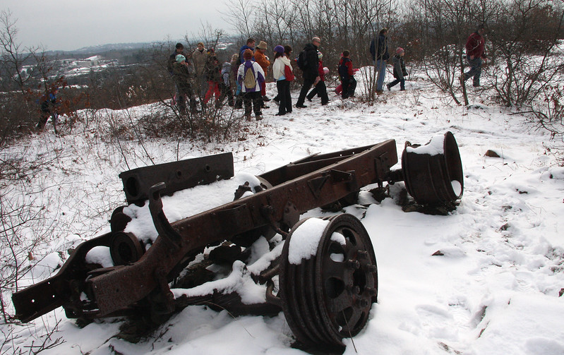 A car from the nineteen forties resides at the top of Breakheart Hill. It was used to anchor a ski lift. l