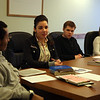 Lynn English High School students (from left) Isakk Kifle, Blanca Reyes, Simone Pilecki, and Stephanie Breault participate in a Lynn Area Chamber of Commerce workshop on creating their own business model at the Chamber in downtown Lynn Thursday January 21, 2010. Item Photo/ Reba M. Saldanha