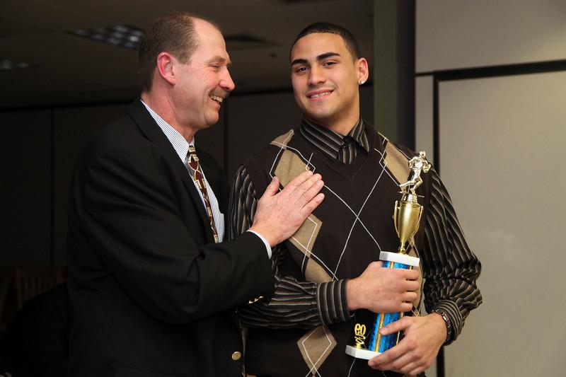 Coach Gary Sverka and MVP Ryan Murphy at the Tech football banquet Thursday January 21, 2010. Item Photo/ Reba M. Saldanha