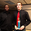Coach Mackenzie Charles and award winner Alex Quintin at the Tech football banquet Thursday January 21, 2010. Item Photo/ Reba M. Saldanha