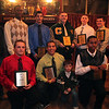 Varsity award winners (kneeling from left) Jarred Mitchell, Robbie Nelson, water boy Phelps, Errol Bluefort (standing left) Jasper Grassa, Chevere Archer, Casey Johnson,  Will Kusch, Josh Cheever, Buddy Ford, and Daniel Omoregie at the Classical High School football banquet at Prince House of Pizza Monday January 25, 2010. Item Photo/ Reba M. Saldanha