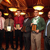 JV award winners and coaches (from left) James Bransfield, Steve Sam, Kyle Gautheir, Calvin Ebieshuwa, Carlos Ramires, and Ryan Hathaway  at the Classical High School football banquet at Prince House of Pizza Monday January 25, 2010. Item Photo/ Reba M. Saldanha
