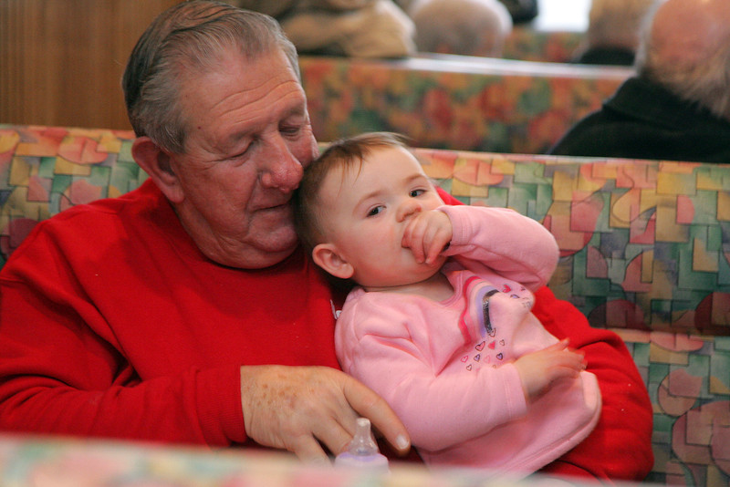 Abigail Griffin, 1 of Lynn, joins her grandfather Bill Diotte of Saugus for lunch at Hammersmith's Restaurant Thursday January 28, 2010. Item Photo/ Reba M. Saldanha