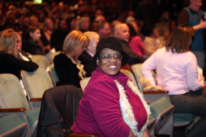 Lynn resident Denise Jackson takes a front row seat during the Cityof Lynn Inaugural Exercises January 4, 2010 at Lynn Veterans Memorial Auditorium at City Hall. Item Photo/ Reba M. Saldanha