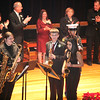 Colin Kennedy, son of Mayor Judith Flanagan Kennedy, second from right, plays as on honorary member of the Hihg School Band during the Cityof Lynn Inaugural Exercises January 4, 2010 at Lynn Veterans Memorial Auditorium at City Hall. Item Photo/ Reba M. Saldanha