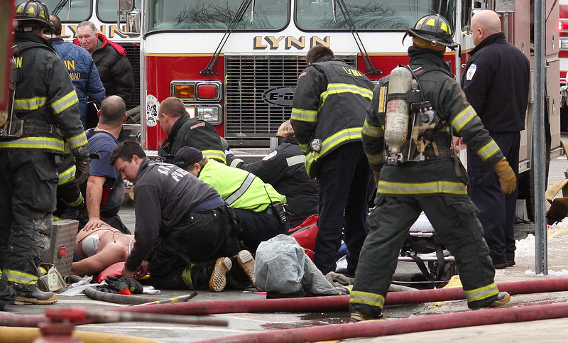 Working on the collapsed Lynn fire fighter.