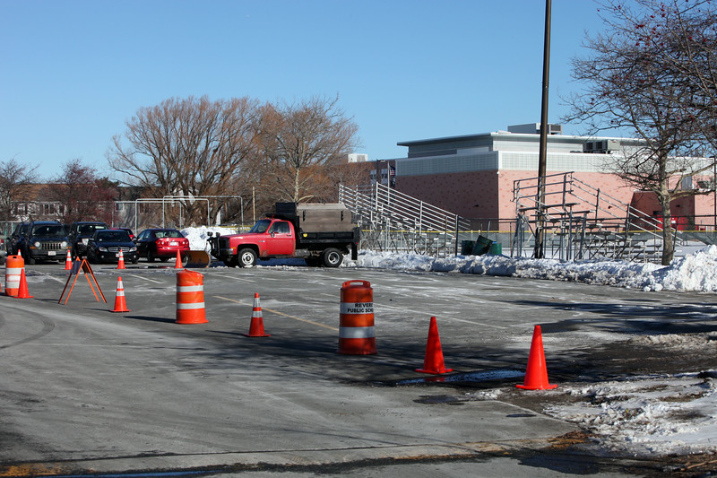 Part of the parking lot of Revere High School was blocked off for jurors in the Talbot murder trial to visit Thursday January 7, 2010. Item Photo/ Reba M. Saldanha