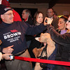 The crowd waits for the arrival of Scott Brown at the Kowloon in Saugus.