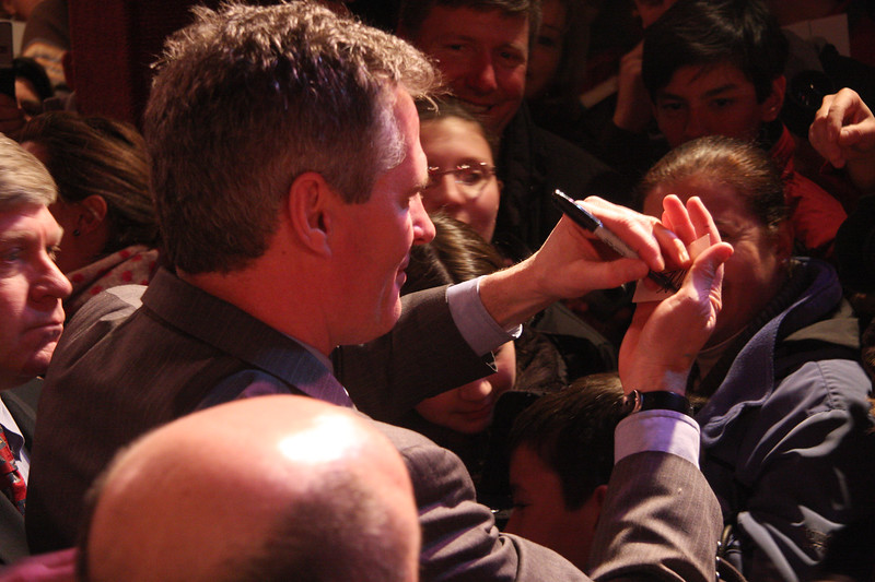 Scott Brown working the crowd at the Kowloon on Saturday.
