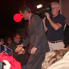 Scott Brown leaving the stage to shake hands.