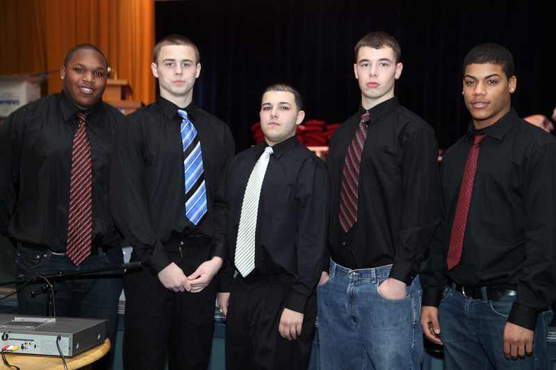 (from left) Jermaine Patterson, Matt McManus, Anthony Bonofrio, Eric Stuley, and MElvin Taveres during the Lynn English High School footbal banquet Sunday January 31,2010. Item Photo/ Reba M. Saldanha