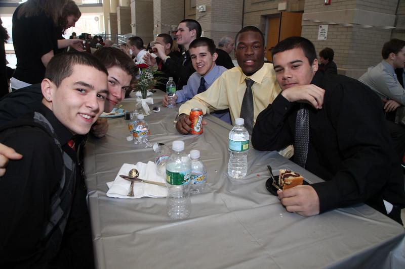 Table shots during the Lynn English High School footbal banquet Sunday January 31,2010. Item Photo/ Reba M. Saldanha