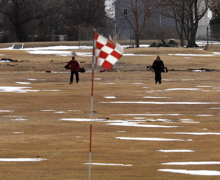A little bit of snow, a lot of grass. The golfers are out at Kelley Greens in Nahant.