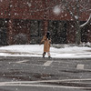 The snow started and stopped and started again. Market Street, Lynn.