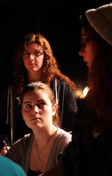 Producer/Director Marysa Angelli talks with cast and crew Alyssa Bartholomew and Ali Brauner.