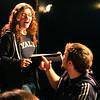 Director Producer Marysa Angelli talks with actor Michael Angelli in between scenes.