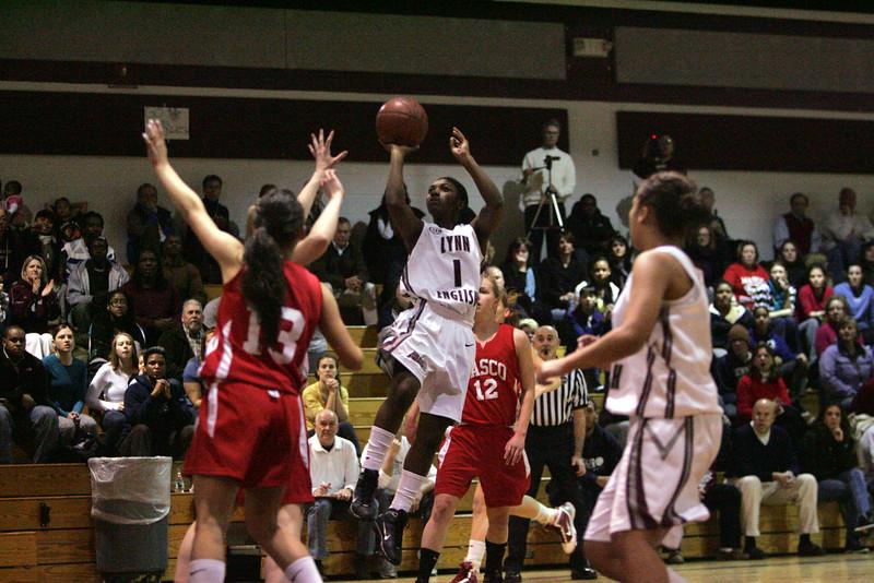 Lynn English's Jenicia Duggins and Masconomet's in Lynn Monday February 22, 2010. Item Photo/ Reba M. Saldanha