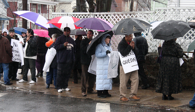 Foreclosure rally on Chestnut Street in Lynn.