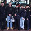 From left to right: Scott Crabtree, Saugus Selectman, Tim Fawcett, Saugus Police, Mike Howard, victim, Art Connors. Saugus Police, Rob DiFlumeri, Saugus Fire, Frank Morello, Saugus Police, James Hughes, Saugus Fire, and Donald Wong, Saugus Selectman. Mike Howard stops by the Essex Street fire station to think the team who saved his life.