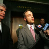 Suffolk County District Attorny Daniel Conelly and prosecutor Edmund Zabin, right, speak to press after the conviction of Robert Iacoviello and James Heang in the murder of Revere police officer Daniel Talbot at Sufflok Superior Court Tuesday February 2, 2010. Item Photo/ Reba M. Saldanha