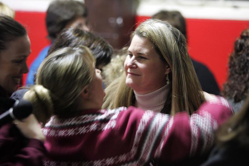 Principal Ellen Fitz gets a hug at Lynnwoods School Wednesday February 3, 2010. Item Photo/ Reba M. Saldanha