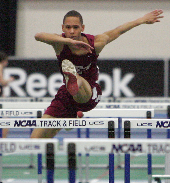 Ricky Kimber of Lynn English won the 55 m hurdles at the NEC track meet at the Reggie Lewis Center in Roxbury Thursday February 4, 2010. Item Photo/ Reba M. Saldanha