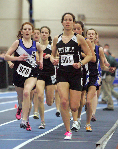 Beverly's Monica Adler finished the girls mile in under five minutes at the NEC track meet at the Reggie Lewis Center in Roxbury Thursday February 4, 2010. Item Photo/ Reba M. Saldanha