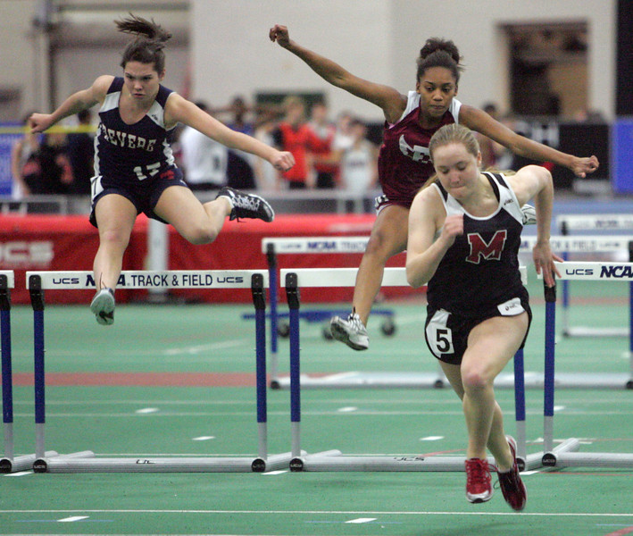 (from left) Lindsay Gurska of REvere, Maria Arzu of Lynn English,a nd Bronte Price of Marblehead compete at the NEC track meet at the Reggie Lewis Center in Roxbury Thursday February 4, 2010. Item Photo/ Reba M. Saldanha