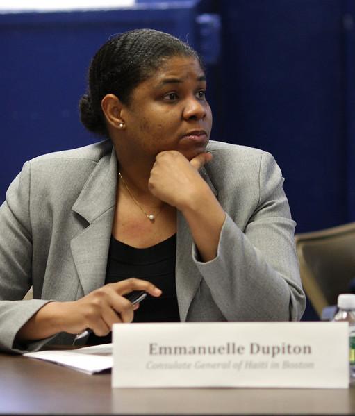 Emmanuelle Dupiton, Conesulate General of Haiti in Boston, at the Haiti meeting.