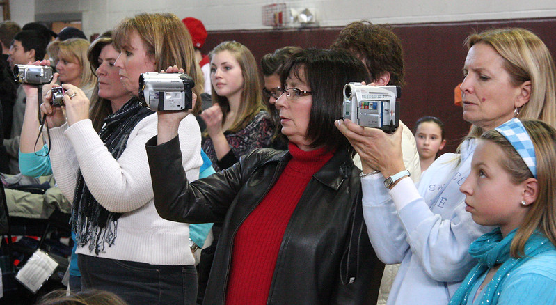 Intrested onlookers at the Northeastern Conference Cheerleading Competition held at English High on Saturday.