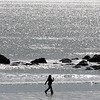 The good weather brought out the walkers. It turns rainy on Thursday. Red Rock Beach, Lynn.