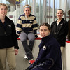 St Mary's girls hockey players (from left) Michelle Macchione, Coutney Winters, Sabrina Ionetti, and Courtney White pose at Connery Rink Tuesday March 9, 2010. Item Photo/ Reba M. Saldanha