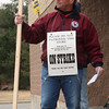 Local 791 strike captain Mike Upton in front of the Shaws super market in Saugus today.