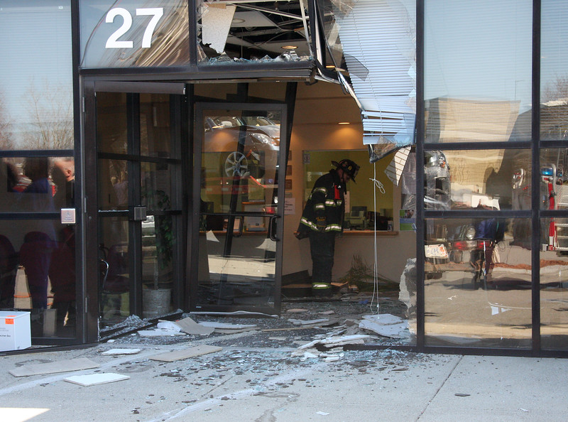 A car crashed through these doors at 27 Centennial Dive in Peabody this morning.