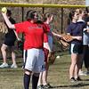Swampscott girl's softball team warming up.