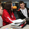Saugus High School students (from left) Marko Opack, Kaitlyn Heathman, and Kyle Lussier participate in a stock market project Monday March 1, 2010. Item Photo/ Reba M. Saldanha