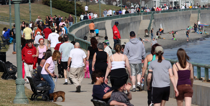 The nice weather brought a lot of people out to Lynn Shore Drive.