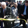 From left to right: Mildred G. DeFranzo and her husband Ray,( The VFW Hall is named after Ray's brother), Pamela Watson, President of the Ladies Auxiliary, and Thomas Paul State Commander of the VFW cut the ribbon on the new VFW Hall on Main Street in Saugus Saturday morning.