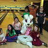 (from left) Brianna O'Flaherty, Hailey Burke, Cassie Guilford, Joshua Newhall, Matthew Addario, Maggie and Timothy Nerich pose for a photo during a Parks and Recreation Department sponsored Bowling witht he Easter Bunny event at Lucky Strike Lanes in Lynn Sunday March 28, 2010. Item Photo/ Reba M. Saldanha