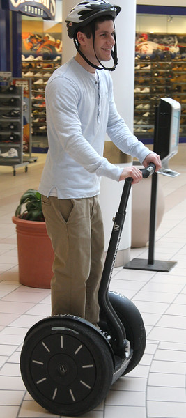 Mike Supino, a senior at Saugus High, got to shadow Craig Vezina, head of security at the Square One Mall today, and one of the perks he received was lessons on how to ride a segway.