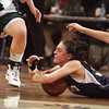 St. Mary's Bria Tiro and Pentucket's during the MIAA Div 3 north semi-final at St. John's Prep Wednesday March 3, 2010. Item Photo/ Reba M. Saldanha