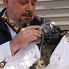 Rob White saves a cat from the fire on River Street in Lynn today.