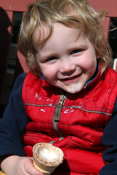 Eli Goodman, 2, enjoys an ice cream on Humphrey St in Swampscott Monday March 8, 2010. Item Photo/ Reba M. Saldanha
