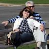 Joanne Irving and Tom Repp enjoy sun on the Lynn waterfront Sunday April 11, 2010. Item photo/ Reba M. Saldanha